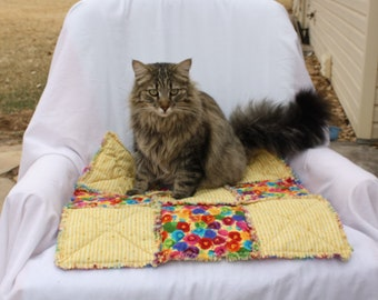 Cat Bed, Couch Cover, Cat Blanket, Yellow Cat Bed, Furniture Cover,Handmade Pet Bed, Pet Bedding, Luxury Cat Bed, Travel Pet Bed, Catnip Bed
