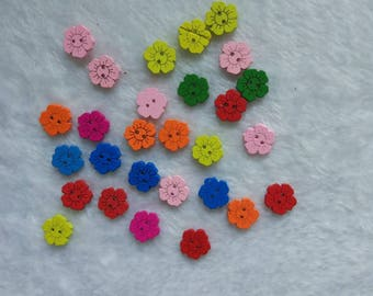 """30 PC Painted wood buttons 15mm - Wooden Buttons ,buttons, natural wood buttons """"flower"""" A085"""
