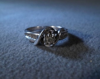 Vintage Sterling Silver Round 8 Baguette Diamond Engagement Wedding Band Ring, Size 7        **RL