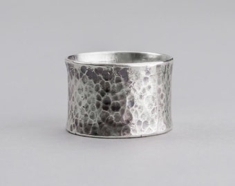 Wide Silver Ring — Simple Wide Ring — Flared Silver Ring — Silver Ring — Boho Silver Ring — Hammered Silver Ring — Antiqued Silver Ring