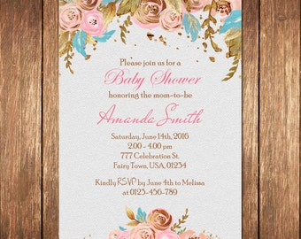 Floral Baby Shower Invitation, Flower Baby Shower Invites, Shabby Chic Baby Shower Invitation,Watercolor Flowers, Printable Baby Shower