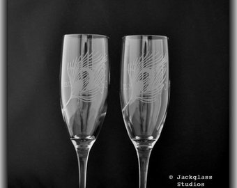 Etched Glass Peacock Feather Wedding Champagne Toasting Flutes by Jackglass on Etsy