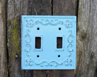 SALE-Cast Iron Light Switch Plate Baby Blue/Switch Plate/Fleur de Lis/Shabby Chic