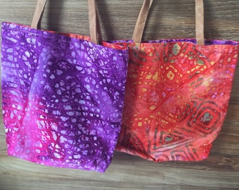 Reversible Batik-print Small Tote Bag with Genuine Leather Straps