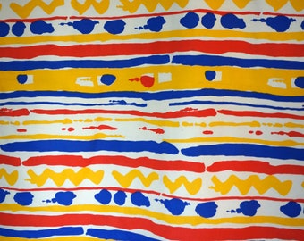 "Striped Canvas Fabric, 2 Yds of Natural Colored Cotton Canvas with Red, Yellow, and Blue Stripes Done in ""Fingerpaint"" Style, Great for Tote"