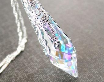 Swarovski Aurora Clear Crystal Necklace April Birthstone Sterling Silver Crystal Prism Pendant Necklace Clear AB Crystal Victorian Necklace