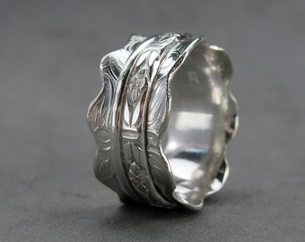 Spinner Ring Worry Ring Sterling Silver, size 7.75