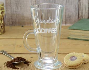 Personalised Grandad Latte Coffee Engraved Glass Mug
