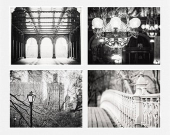 Black and White Prints or Canvas Art Set, Elegant City Art, Urban Print, Vintage Architecture Pictures, Set of 4 Landscape Wall Art.