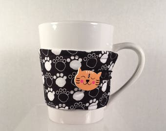 Paw Prints Cat Mug Cozy Coffee Tea Hot Cocoa Sleeve Cats Kitten Kittens