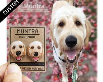 CUSTOM DOG EARRINGS Pet Stud Earrings Resin Earrings Custom Pet Earrings Dog Stud Earrings Resin Jewelry Custom Earrings Custom Gift Idea