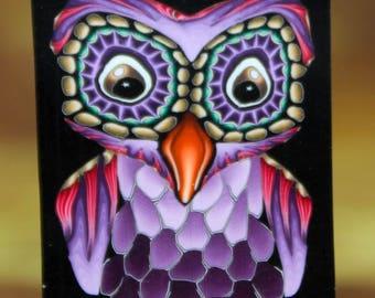 Purple Owl Polymer Clay Cane -'Night Owl' series (47B)