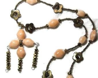 Peach Porcelain Necklace, Bronze Peach Brown Pendant Necklace