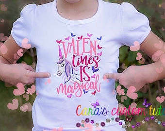 Valentine's Shirt- Unicorn - February- Colorful Shirt- Magical- Valentines is Magical- Hearts- Embroidery Shirt- Valentine Unicorn Shirt