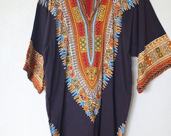 vintage  dashiki navy blue gold batik  tunic top swim cover