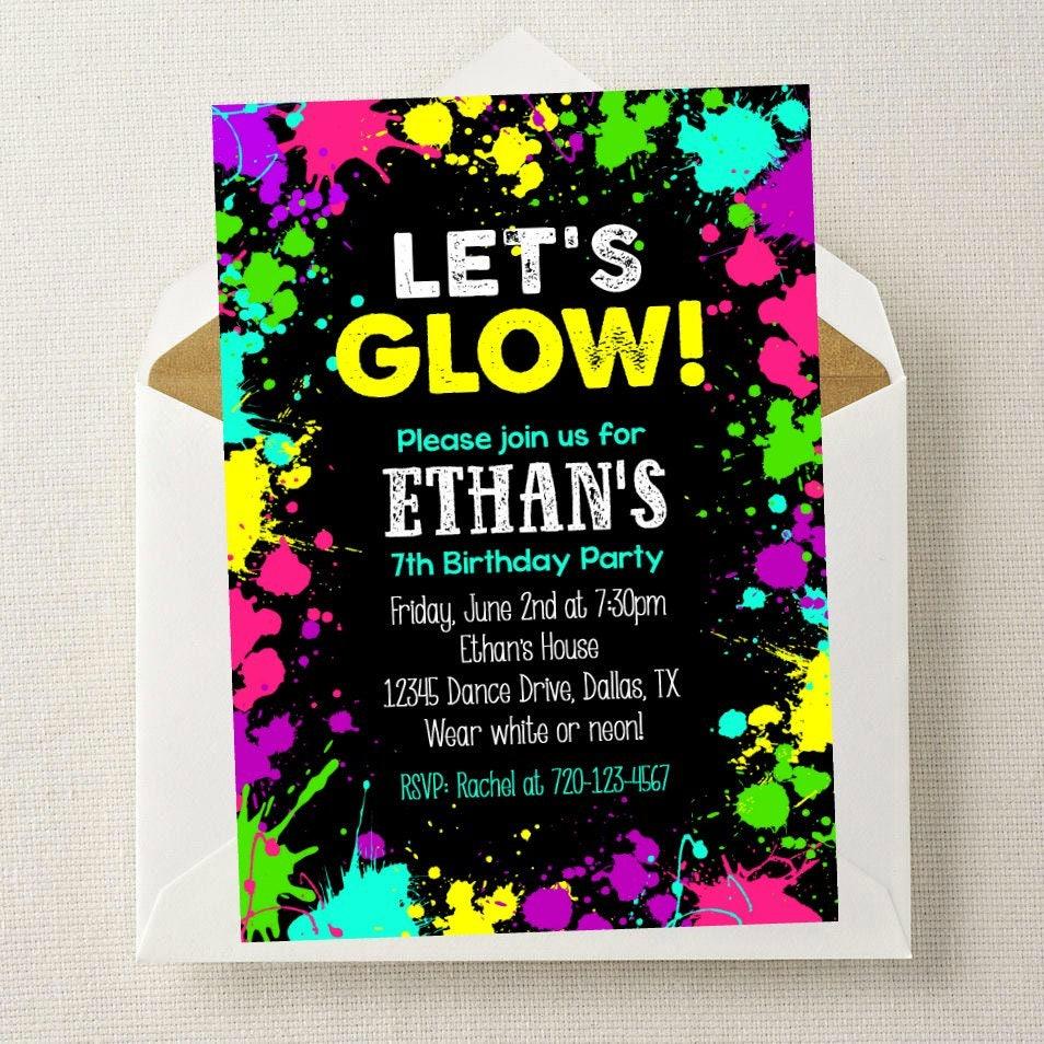 Boy Neon Glow Invitation // Neon Glow Party Invitation // Glow