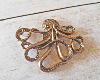 Large Octopus Pendant Octopus Charm Steampunk Octopus Large Octopus Charm Bronze Octopus Metal Octopus Kraken Pendant Bronze Pendant 2""