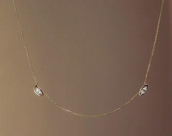Diamond Station Necklace, Marquis Cut Diamonds