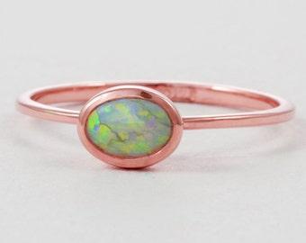 Rose Gold Opal Engagement Ring 14K Rose Gold Opal Engagement Ring Rose Gold Opal Engagement Ring 14K Rose Gold Engagement Ring Opal
