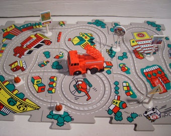 Vehicle Puzzle Fire Truck Wind-up Play Track Set Fire Engine #Ty45