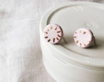 Pink and Gold Pinwheel Ceramic Stud Earrings
