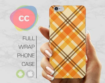 Orange Tartan Phone Case - iPhone 7 Case - iPhone 8 Case - iPhone X, 7, 6, 5S, 5 Cases - Samsung S8, S7, S6 Case - iPhone Covers - PC-282