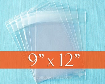 """100 Cello Bags: 9 x 12"""" Inches, Resealable Acid Free Crystal Clear Photo Packaging"""