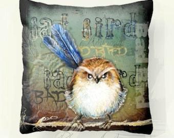 "Pillow ..PRINT art.. animal art - woodland art - fine art -living room - childrens room - nursery - babies - """" BAD BIRD"