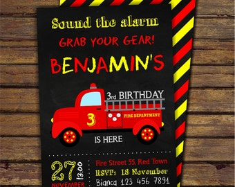 Firetruck Birthday Invitation, Fireman Invitation, Fire Engine Party Invite, Firefighter Invite, Printable DIGITAL Chalkboard Invitation