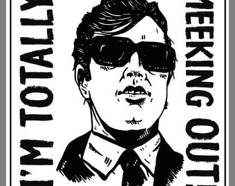 """JOE MEEK-  I'm totally MEEKING out! 4"""" x 4"""" square vinyl decal stickers (two per order)"""