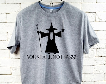 You Shall Not Pass Gandalf The Grey Hobbit LOTR Gray T-Shirt For Men