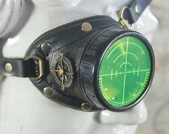 Steampunk, Monocle, black leather, brass, target etched eye pieces, right eye monocle