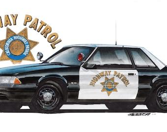 1988 Mustang CHP 12x24 inch Art Print by Jim Gerdom