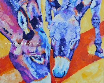 """Original Donkey Oil Painting 12""""x12"""" painted by knife"""