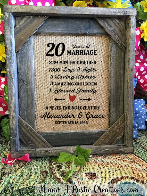 Framed 20th Wedding Anniversary Gift