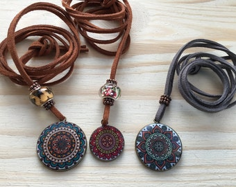 Bohemian Necklace With Pendant and Pandora-style Bead on a Faux Leather Cord