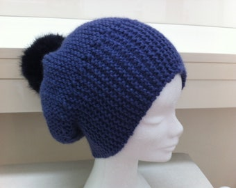 Blue wool hat with Pompom jeans faux fur