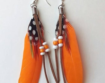 Orange Feather earring