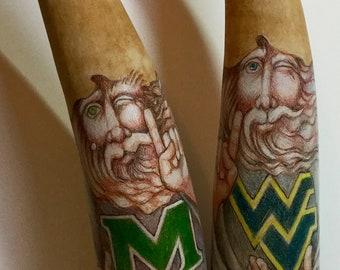 WVU, Marshall U.  Gourd Original Art Pair by Patty Wolford Artrox