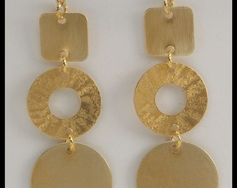 JERI - Handforged Hammered & Brush Finished Long Bronze Statement Earrings