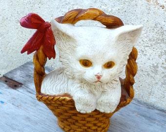 Vintage Antique 1930/1950 old French  cat on basket /cat/kitten money box