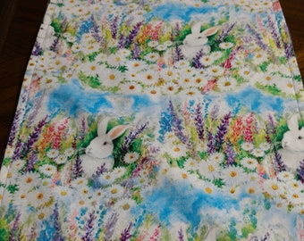 Easter Table Runner with Bunnies and flowers