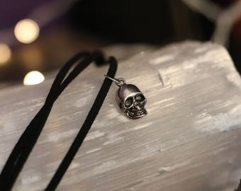 SKULL charm faux suede bracelet