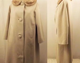 60s Vintage Eininger Wool & Fur Coat with Mink Trim Collar Size L