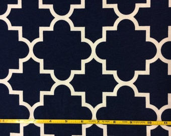 NEW BOLT by Girl Charlee navy and white quatrefoil on cotton Lycra  knit fabric 1 yard
