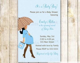 ON SALE Umbrella Invitation - Pregnant Woman Invitation Blue Brown Umbrella Baby Shower Invitation Editable File Instant Download