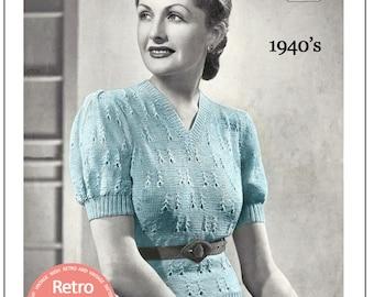 1940s Lady's V-Neck Sweater Vintage Knitting Pattern - PDF Knitting Pattern - PDF Instant Download