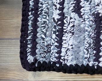 Black & White Rug - Crochet Rag Rug - Floor Mat - Bedroom Decor - Thick Bathmat - Repurposed - Earth Friendly - Eco Home - Rectangular