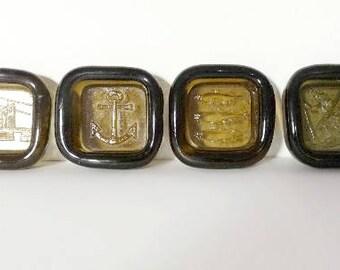 Norwegian PLUS Glashytta 1970s Set Amber Glass Mini Ashtrays Bowls Design Richard Duborgh Vintage