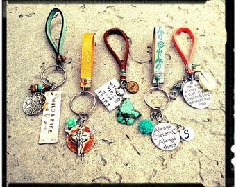 Bohemian Leather Keychains • Choose your Favorite • Hand Stamped Phrase - Charms/Colorful/Friend/Family/ - New Car/New Driver Gift